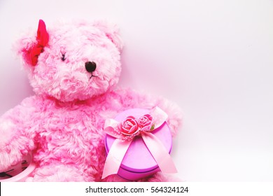 Pink bear with pink gift box