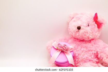 Pink bear and pink gift for girl concept
