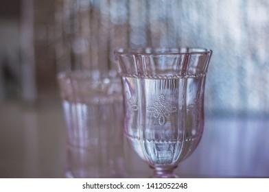 Pink beautiful vintage drinking glass