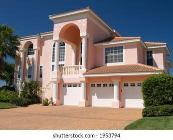 Pink beauty under deep blue sky