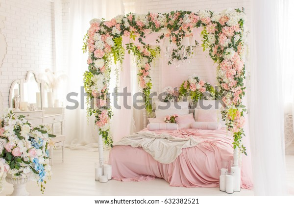 Pink Bedroom Bed Curtains Flowers Pink Stock Photo (Edit Now ...