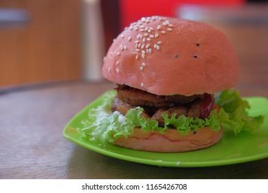 pink beef burger