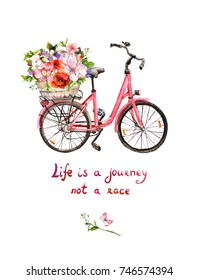 Pink bicycle with flowers in basket and motivation quote about life as a journey. Watercolor