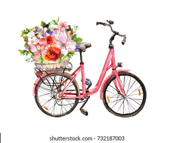 Pink bicycle with flowers. Watercolor