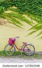 Pink bicycle leaned against yellow wall with green ivy