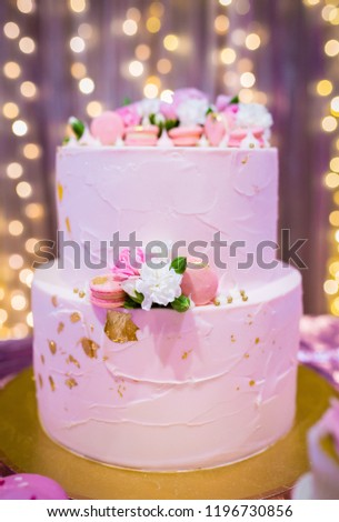 Pink Birthday Cake With Flowers