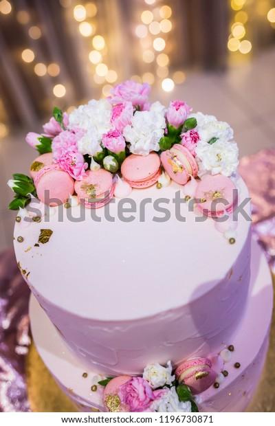 Surprising Pink Birthday Cake Flowers Stock Photo Edit Now 1196730871 Personalised Birthday Cards Cominlily Jamesorg