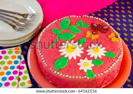 Pink Birthday Cake With Flowers And Butterflies