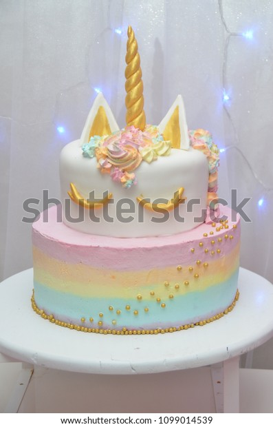 Pink Birthday Cake Girls Stock Photo Edit Now 1099014539