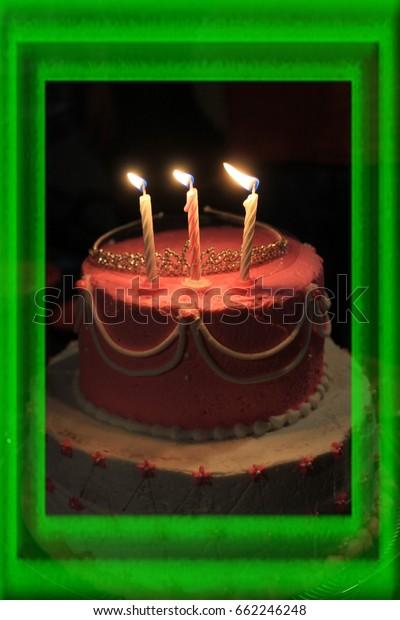 Peachy Pink Birthday Cake Shot Closeup Flaming Stock Photo Edit Now Funny Birthday Cards Online Necthendildamsfinfo