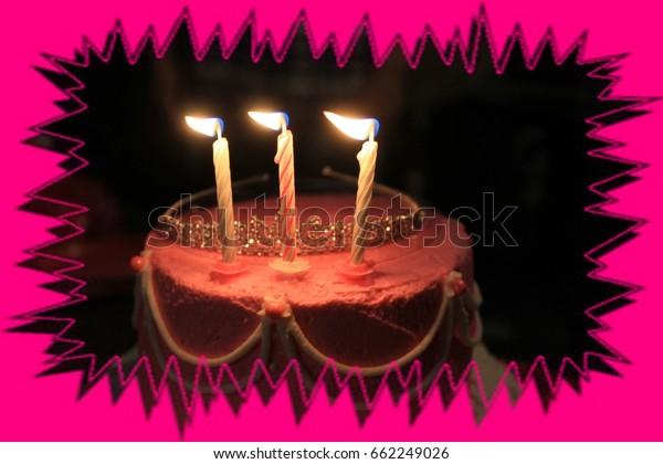 Amazing Pink Birthday Cake Shot Closeup Thats Stock Photo Edit Now 662249026 Personalised Birthday Cards Cominlily Jamesorg
