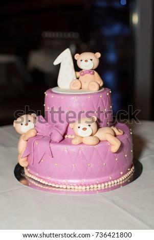 Pink Birthday Cake With Teddy Bears