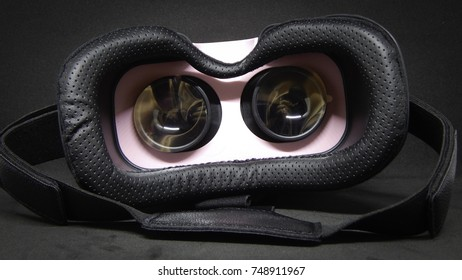 Pink and black virtual reality glasses, 3D technology