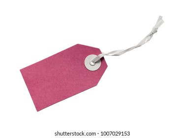 Pink blank gift tag isolated on white background