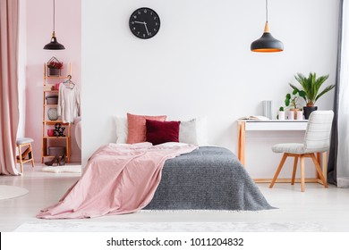 Pink blanket on bed next to desk and grey chair in bedroom interior with black lamp and clock