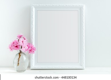 Pink Blossom styled stock photography with white frame for your own business message, promotion, headline, or design, great for blogging and social media