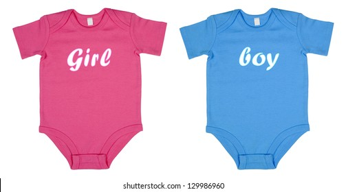 Pink and blue baby clothes isolated on the white background