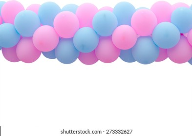 Pink and blue balloon over white background