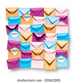 Pink, blue and brown envelopes collection on white background