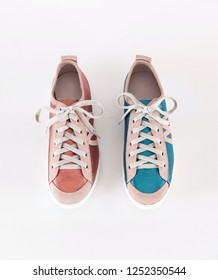 pink and blue flat shoes