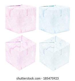 Pink and blue gift boxes isolated on white background