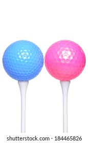 pink and blue golf ball on white background