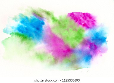 pink blue green watercolor