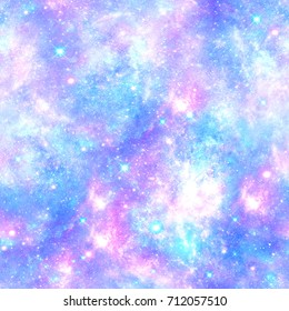 Pink and Blue Magical Galaxy Star Print  Seamless Pattern in Repeat