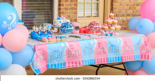 Pink and Blue, Outdoor Gender Reveal Party Decorations: Pink and blue, girl or boy, outdoor gender reveal party decoration and party favorites.
