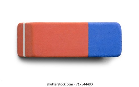 Pink And Blue Pen Eraser Isolated on White Background.