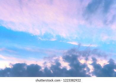 pink and blue sky at dawn, lilac blue sky at sunset