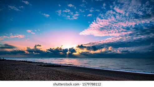 Pink and Blue Sunrise Poster - view at Bexhill, East Sussex, England