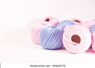 pink and blue thread for knitting