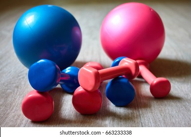 Pink and blue training dumbbells, sport rubber balls. Equipment for practicing pilates, aerobics and group sports training. Back background of the gym