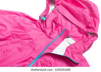 Pink and blue zipper windbreaker hiking jacket, rain proof jacket coat hoodie, track jacket sport nylon gore-tex full zip isolated on white.