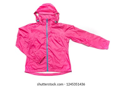 Pink and blue zipper windbreaker hiking jacket, rain proof jacket coat hoodie, track jacket sport nylon gore-tex full zip isolated on white.