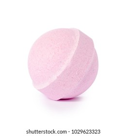 Pink bomb for bath on white background isolation