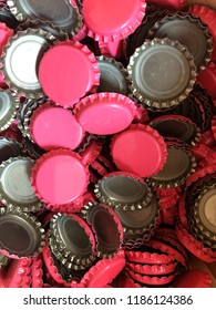 Pink bottle crown caps