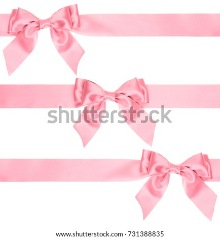 pink bow on a wide ribbon from different sides to create a gift decoration isolated on