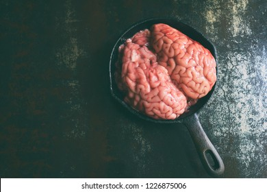 Pink brain before cooking on black metal frying pan. Raw meat. Offal