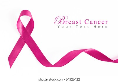 Pink Breast Cancer Ribbon with copy space