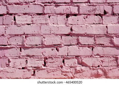 Pink brick wall texture. Background brickwork.