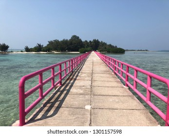 Pink bridge surrounded by clear underwater in Tidung Island, Thousand Island, Jakarta Indonesia