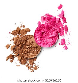 Pink and brown eye shadow isolated on white background
