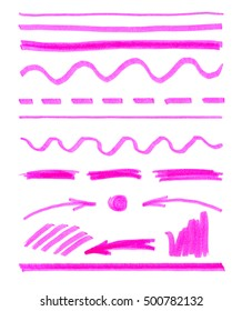 pink brush strokes pen scribbles, elements for your design