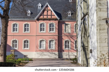Pink building in the historic center of Lippstadt, Germany