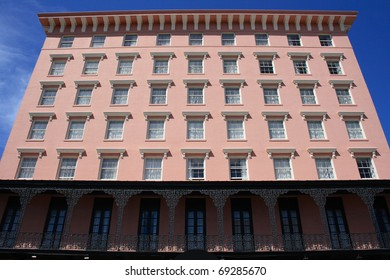 Pink building with windows in Charleston, South Carolina