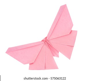Pink butterfly of origami. Isolated on white background