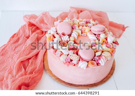 Pink Cake Decoration Sweets Macaroons Marshmallows Stock Photo Edit