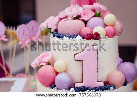 Pink Cake Girl On Birthday One Stock Photo Edit Now 757566973